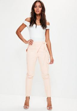 Pink Utility Pocket Tie Detail Crepe Trousers