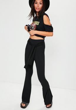 Black Ribbed Slinky Tie Wide Leg Pants