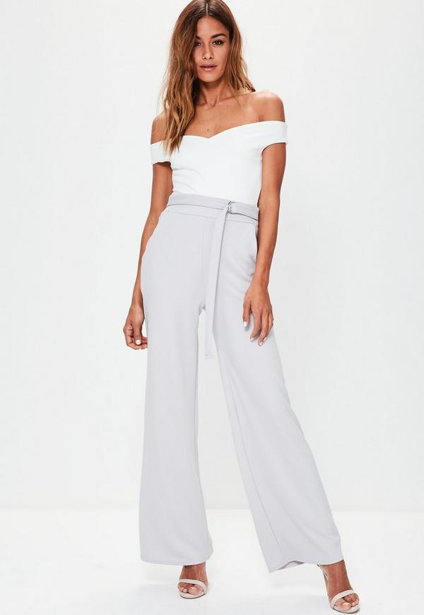 Grey D Ring Stretch Crepe Wide Leg Trousers