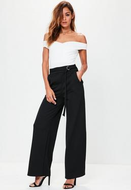 Black D Ring Stretch Crepe Wide Leg Trousers