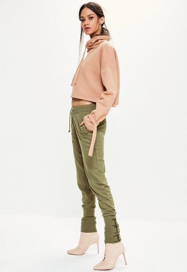 Khaki Buckle Ankle Detail Joggers