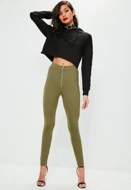 Khaki Circle Zip Detail Leggings
