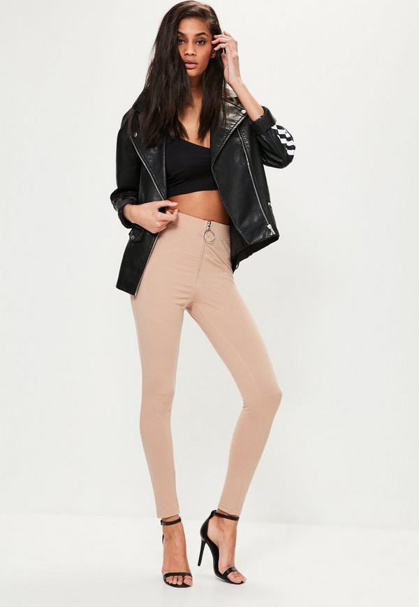 Nude Circle Zip Detail Leggings