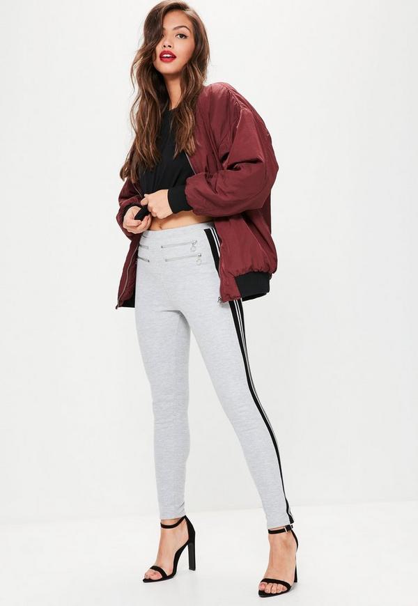 Grey Sport Stripe Double Zip Leggings