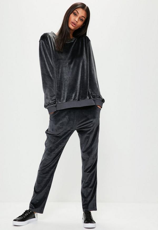 Grey Velour Sweatpants