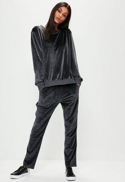 Szare welurowe spodnie dresowe