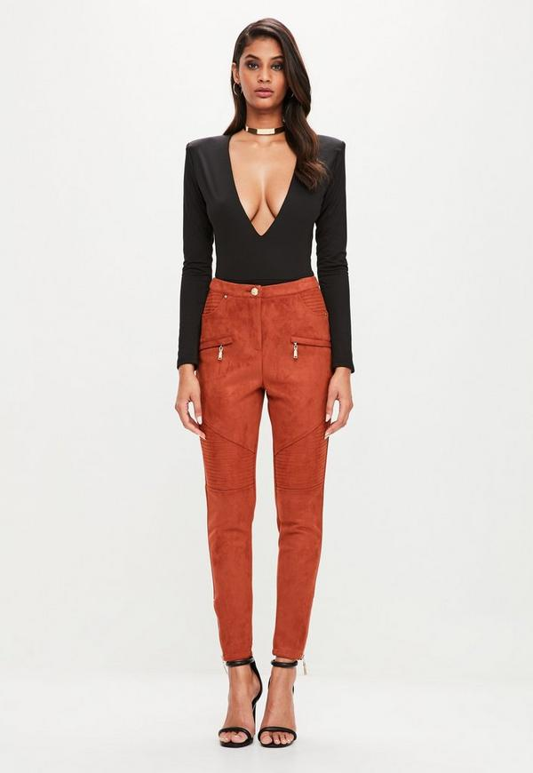 Peace + Love Orange Button Detail Faux Suede Skinny Trousers