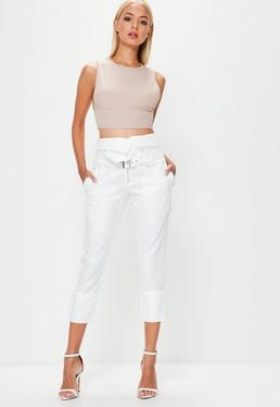 White Fold Over Waist Cropped Cigarette Trousers