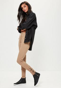 Brown Buckle Ankle Joggers