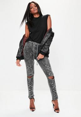 Black Washed Lace Up Front Cut Knee Joggers