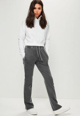 Szare dopasowane spodnie dresowe jogersy z szerokimi nogawkami