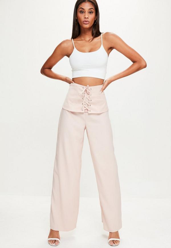 Pink Corset Waist Crepe Wide Leg Trousers