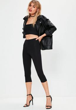 Black Cropped Basic Leggings