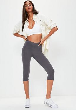 Graue Basic Crop Leggings