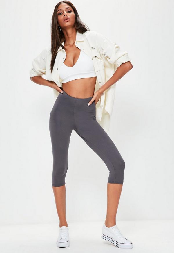 Grey Cropped Basic Leggings