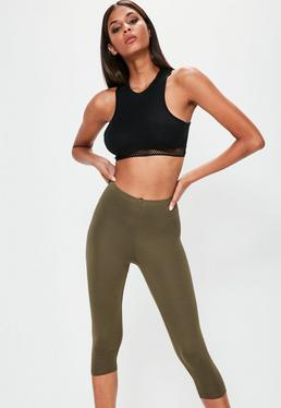 Khaki Cropped Basic Leggings