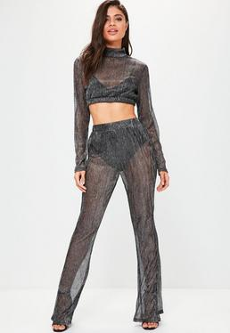 Black Sparkle Metallic High Waisted Trousers