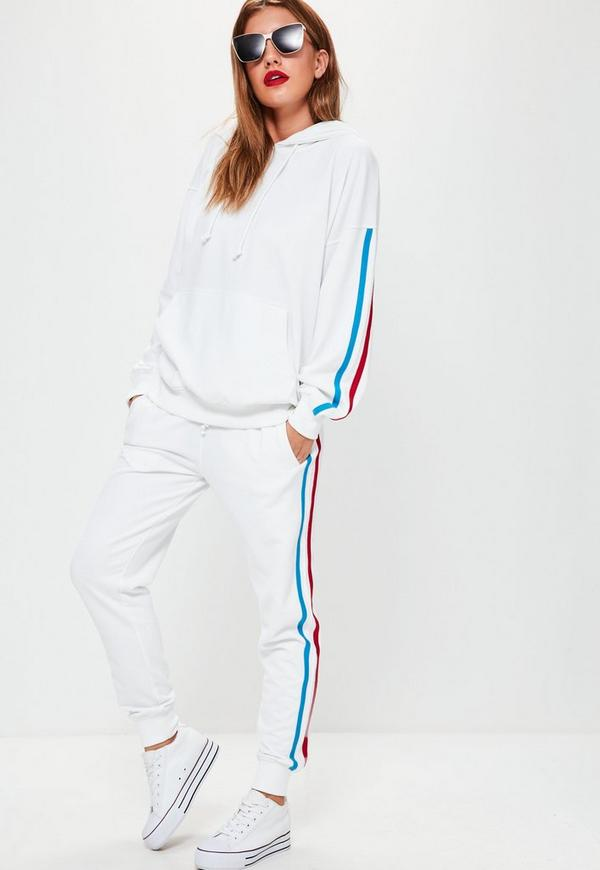 White Binding Tracksuit Joggers
