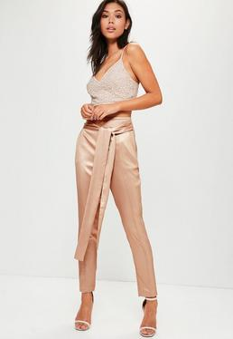 Rose Gold Metallic Cigarette Pants
