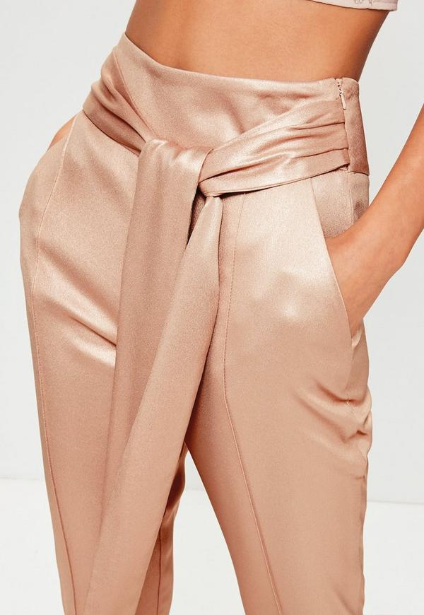 rose gold metallic cigarette trousers missguided ireland. Black Bedroom Furniture Sets. Home Design Ideas