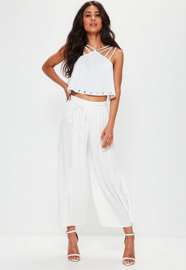White Pleated Skinny Tie Belt Culottes