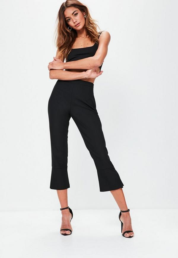 Black Kick Flare Cropped Trousers