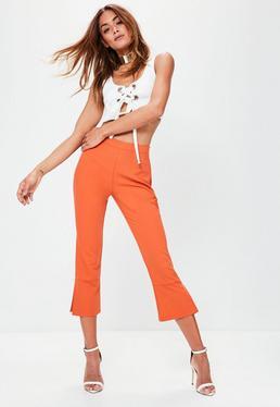 Orange Kick Flare Cropped Pants