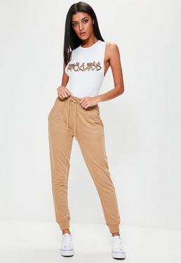 Beżowe spodnie dresowe jogersy