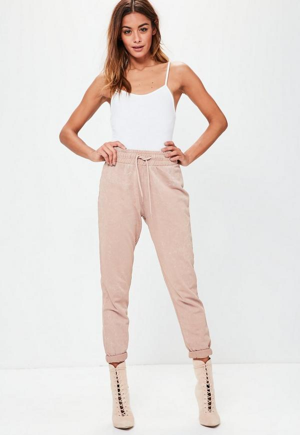 Pink Washed Turn Up Cuff Joggers