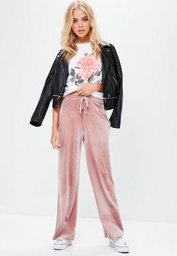 Pink Wide Leg Velour Joggers