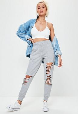 Grey Pearl Ripped Front Joggers