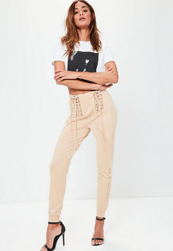 Nude Lace Up Corset Waist Joggers