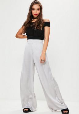 White Vertical Stripe Wide Leg Trousers