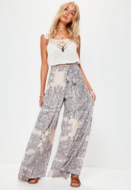 Pantalon large blanc crème imprimé bohème