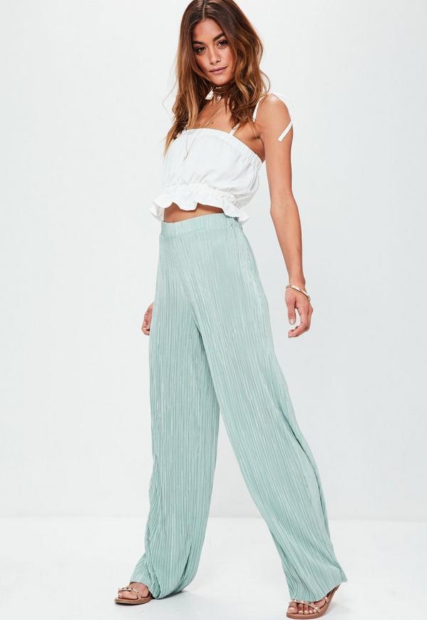 Green Crinkle Pleated Wide Leg Trousers