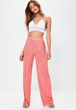 Pantalon large rose plissé