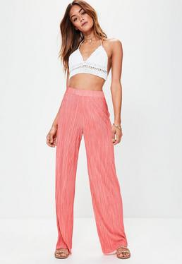 Pink Crinkle Pleated Wide Leg Trousers