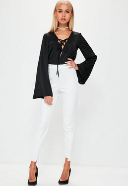 Hose mit asymmetrischem Saum in Weiß