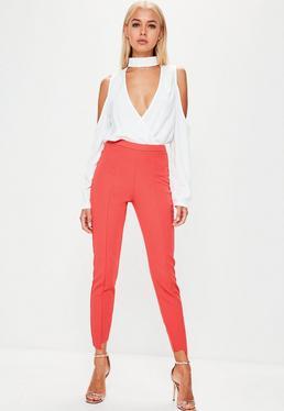 Orange Step Hem Skinny Pants