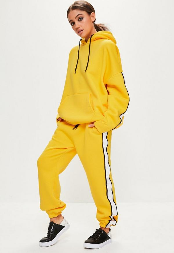 Yellow Oversized White Binding Tracksuit Joggers