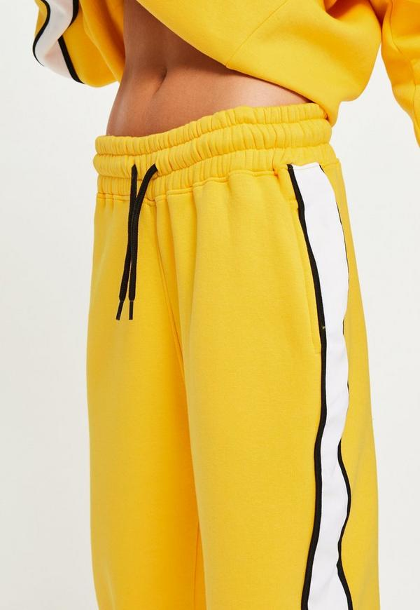 Yellow Oversized White Binding Tracksuit Joggers Missguided