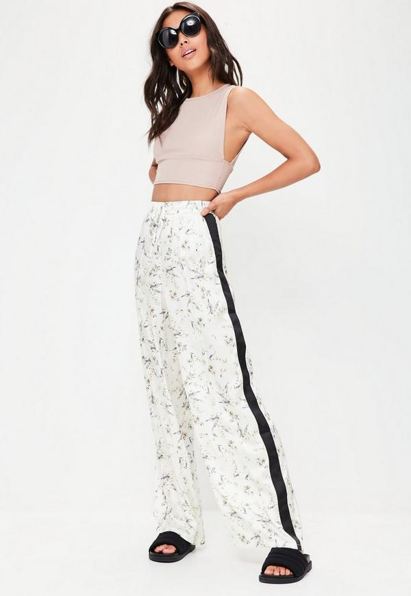 White Wide Leg Printed Trousers