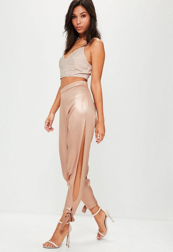 Rose Gold High Shine Split Wrap Tie Trousers