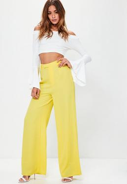 Premium Yellow Textured Crepe Wide Leg Trousers