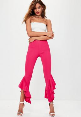Pink Asymmetric Draped Frill Side Cigarette Trousers