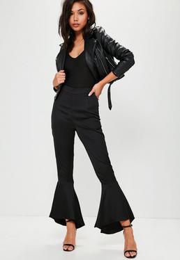 Czarne satynowe spodnie z falbanami premium