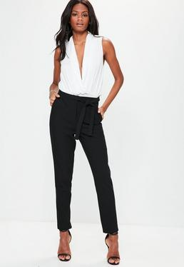 Black Tie Waist Cigarette Trousers