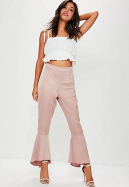 Premium Pink Satin Soft Frill Hem Trousers