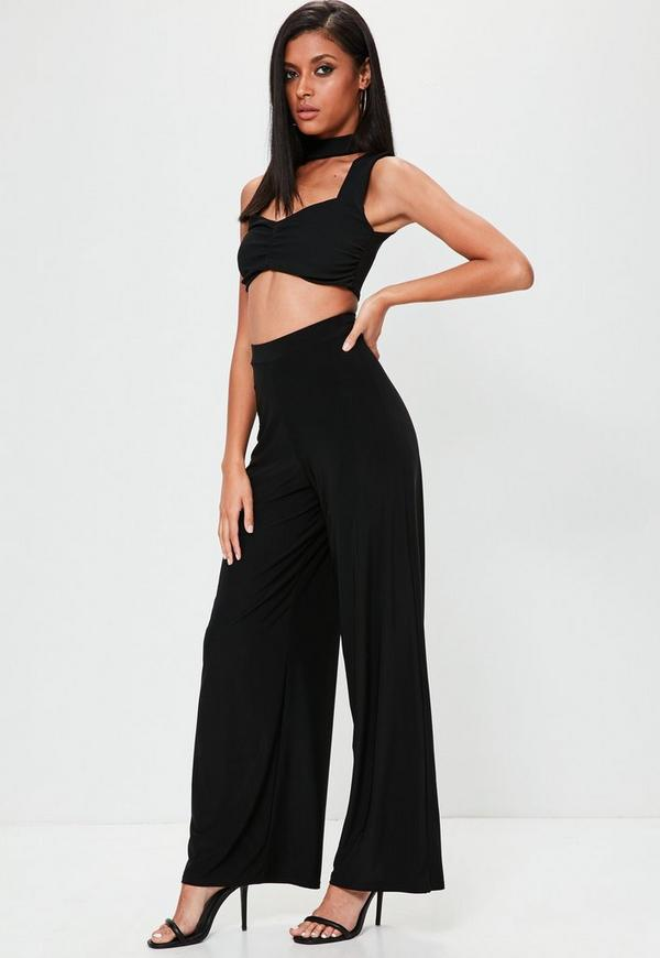 Black Slinky Wide Leg Flared Pants | Missguided