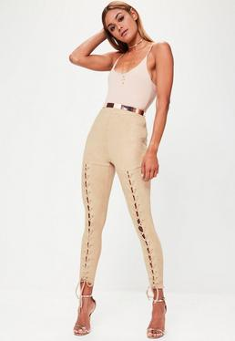 Nude Faux Suede Lace Up Leggings